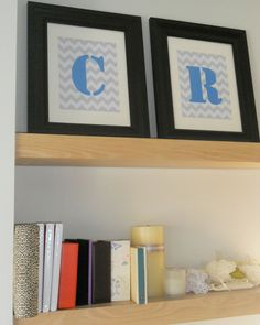 Personalized Chevron Prints with Stamp Font Initials - Printable 8x10 - Perfect for Baby Nursery or Kid's Room Wall Decor - Custom Colors