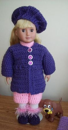 Free crochet pattern for 18 inch doll or American Girl Doll. Happy crocheting!