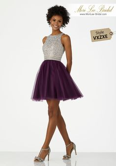 Style VXZXESparkly Cocktail Dress Featuring a Sequin Beaded, Keyhole Back Bodice and Soft Net SkirtSequin Beaded Net With a Keyhole Back, Soft Net Skirt. Colors Available: Grape, Wine, Majestic Royal.