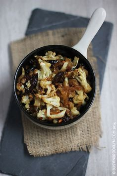 za'atar roasted cauliflower relish with caramelized onions, prunes and ...