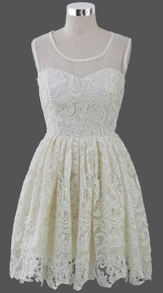Moonbeam Lace Crochet Sleeveless Prom Dress - Retro, Indie and Unique Fashion Lace Summer Dresses, Little White Dresses, Pretty Dresses, Beautiful Dresses, Short Dresses, Prom Dresses, Dress Summer, Crochet Lace Dress, Dress Lace
