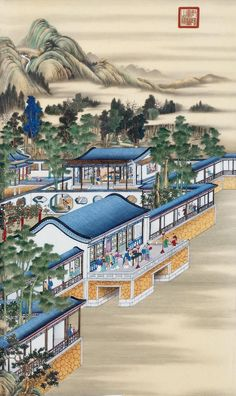 July-Emperor Yongzheng's 12 joyful months at Yuanmingyuan - by Giuseppe Castiglione / 郎世宁 (Lang Shining - 1688 - 1766 AD), Qing Dynasty. Chinese Landscape Painting, Chinese Painting, Chinese Art, Landscape Paintings, Chinese Architecture, Art And Architecture, Korean Art, Asian Art, Old Summer Palace
