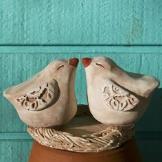 White Love Birds with Lace Wings Pottery Animals, Ceramic Animals, Ceramic Birds, Clay Animals, Ceramic Clay, Ceramic Pottery, Pottery Art, Pottery Painting, Painting Art