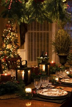 Love the subdued lighting in this setting...an Intimate and Romantic Christmas Dinner. Red and cream candles