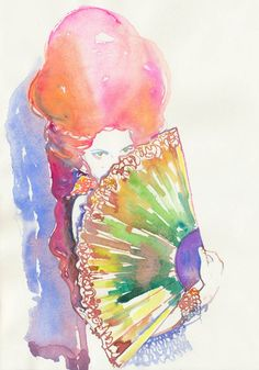 Print of Watercolour Fashion Illustration. Titled - Belle.