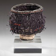 "Temuko II, a 'chawan' by Ed Bing Lee, 2010. Paper ribbon, waxed linen. Height 5"", Diameter 5""."