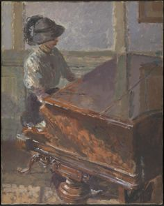 Tipperary (1914). Walter Richard Sickert (British, 1860-1942). Oil paint on canvas. Tate. The face of the woman is obscured by a wide-brimmed hat. Seen from above, she is posed playing the Broadwood grand piano. Sickert applied hues including green, red brown and a mushroom tone in layers of underpaint to evoke the reflection of coloured light, as in the highly polished wooden piano lid. The title refers to It's a Long Way to Tipperary, a favourite marching tune of the British army during WW…