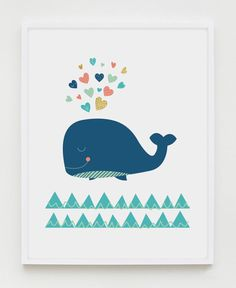 This navy, coral, mint and gold whale print will bring a special touch to your already beautiful nursery or playroom.  PLEASE NOTE: You are purchasing a digital file only. NO PRINTED MATERIALS OR FRAME ARE INCLUDED!  -------------------------------------------  FILES INCLUDED  • 1 JPG 8x10 • 1 JPG 11x14 • 1 JPG 16x20 • 1 JPG International paper size for printing A4 (Included in the price is also a large JPG 20x30 but due to Etsy upload limitations, I need to email it to you separately, after…