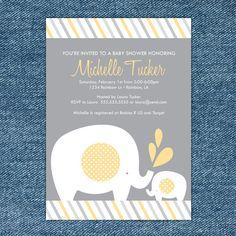 Elephant Baby Shower Printable Invitation Gray and Yellow. $10.00, via Etsy.