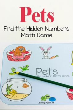 Finally a fun way to help with number recognition without wall charts. This find the hidden numbers pets math game will help anyone work on their skills.