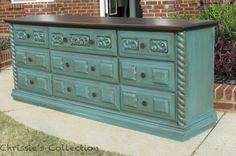 Love the combo of the distressed aqua and dark wood for the bedroom. Would look great if I stained the armoire the same dark shade.