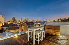 Bespoke real estate photography and video for inner city Melbourne's most prestigious properties. Real Estate Photography, Balconies, Outdoor Dining, Melbourne, Mansions, House Styles, City, Creative, Home Decor
