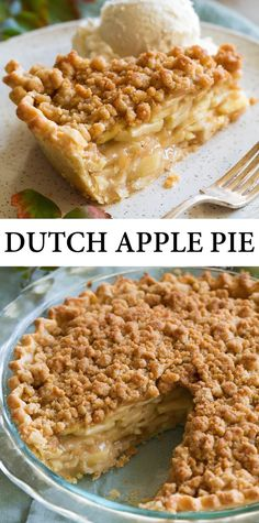 Pie recipes 314126142763282513 - Dutch Apple Pie – this is my all-time favorite apple pie! It's starts with a flaky homemade pie crust, then a deliciously flavorful apple pie filling and it's finished with an sweet and buttery streusel crumb topping. Mini Desserts, Just Desserts, Delicious Desserts, Easter Desserts, Apple Desserts, Apple Pie Recipes, Baking Recipes, Fall Recipes, Amish Recipes