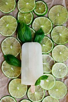 Lime Basil Gin Ice Pops...Mmm for beach days...