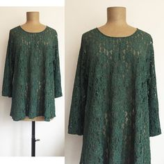 80s 90s EXPRESS Mesh & Lace tunic top  Vintage GREEN sheer