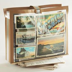 Newspaper Holder  Newspaper Holder  Whip up a holder for newspapers and magazines using vintage postcards and duct tape. Carry your sturdy holder wherever needed.  Get instructions for Newspaper Holder.