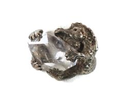 Dragon Sterling Silver Ring - Vintage Unique Detailed - Herkimer Diamond - Size 8.5 - InVintageHeaven