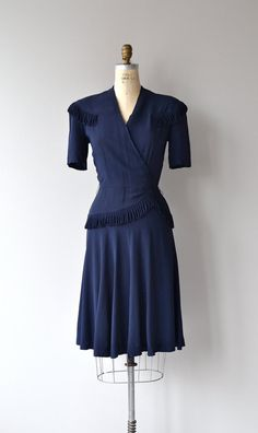 Armistice Day dress 1940s dress vintage 40s rayon by DearGolden