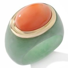 coral + jade. Two favorites in one ring