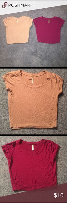 Two crop top bundle Perfect condition! Tan is small and magenta is medium. Both fit similar. WINDSOR Tops Crop Tops
