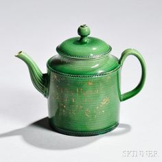 Staffordshire Green-glazed Creamware Teapot and Cover | Sale Number 2850B, Lot Number 246 | Skinner Auctioneers