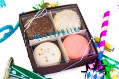 Our New Year's gift box now available!  Black Forest, Coconut Snowball, Champagne Raspberry, Strawberry Cheesecake @ www.cocoamains.com
