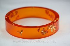 Resin Bangle, Tangerine with Gold Leaf Flake