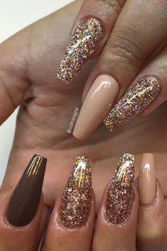 50 Ultra Popular Nail Art Design Ideas solinsnaglar Source by Best Nail Art Designs, Acrylic Nail Designs, Acrylic Nails, Coffin Nails, Easy Nail Art, Cool Nail Art, Gold Nails, Glitter Nails, Trendy Nails
