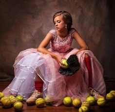 Great dance picture incorporating softball.  Have her sit on the ball bucket.