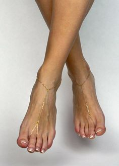 New to BareSandals on Etsy: MInimalist Barefoot Sandals Gold Anklet Golden Foot Jewelry Minimalist Sandals Gold Toe to Ankle Ring Gypsy Sandals Bohemian Jewelry Boho (33.00 USD)