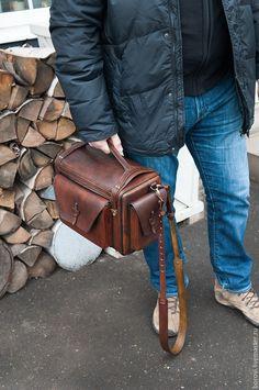 Купить кофр из натуральной кожи - коричневый, однотонный, мужской подарок, мужчине, сумка ручной работы
