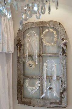 Collection of shabby chic dreamcatchers and wreaths