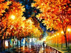 Leonid Afremov Gold Bulevard oil painting reproductions for sale