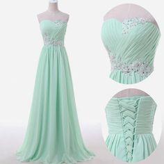 Mint green prom dresses,sweetheart A-line chiffon long prom dresses,2016 bridesmaid dresses,mint green prom dresses