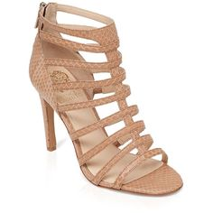 Vince Camuto Open Toe Caged Gladiator Sandals ($104) ❤ liked on Polyvore featuring shoes, sandals, heels, buff, high-heel gladiator sandals, roman sandals, vince camuto, caged sandals and caged heel sandals