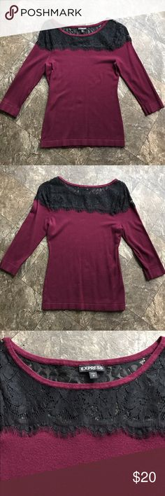 Express Lace trim sweater EUC Express Lace trim sweater, maroon with black lace shoulders, 3/4 sleeves, extra soft fine knit, size small. Express Tops