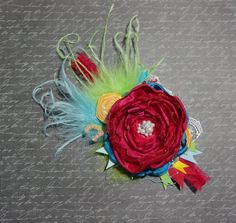 Carnival Headband....Rose, Rosettes, Ostrich Feathers..... by FloppyBunnyBoutique, $20.00