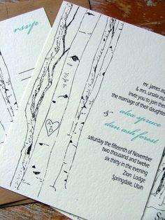 Wedding Invitations Aspen Woodland Trees a deposit by sweetcookie, $100.00