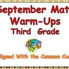 This set includes 20 pages of Common Core-Aligned Math Warm-Ups for a third grade classroom!  Each math domain from the Common Core will be covered each week.  For the month of September, the following skills will be included:   Rounding numbers.  Naming place value to the tens place.  Drawing an array to represent an equation.   Using a key to read a graph.  Understanding fraction units    $