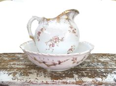 Antique Wash Basin and Pitcher Shabby Chic by VintageShoppingSpree, $140.00