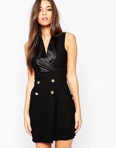 Vesper Plunge Neck Satin Tuxedo Dress With Button Detail