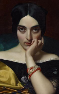 Portrait of Clémentine (Mrs. Alphonse) Karr (1845).  Henri Lehmann (German born-French, 1814-1882). Oil on canvas. Minneapolis Institute of Arts. In its obsessive frontality, this likeness of Clémentine Karr reproduces Louise d'Haussonville's attitude in Ingres' portrait of her of the same year. Lehmann emphasizes the models features with her immense eyes staring at the onlooker.