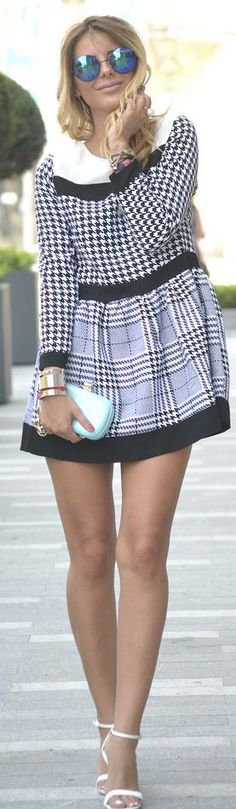 Choies Black And White Fit And Flare Houndstooth Check Mix Print Mini Dress by Zorannah.