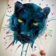 Black panther by LAUILUSTRA on Imgrum - Watercolour painting [maybe with added galaxy background] Animal Paintings, Animal Drawings, Art Drawings, Watercolor Galaxy, Watercolor Tattoo, Black Panther Tattoo, Aquarell Tattoo, Desenho Tattoo, Painting & Drawing