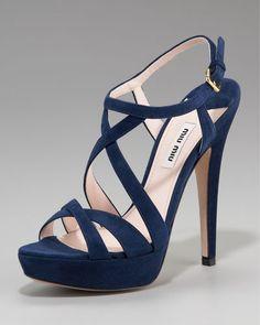 MIU MIU Suede Crisscross Strappy Sandal