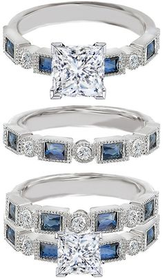 Princess Cut Diamond Engagement Ring Blue Sapphire Accents & Matching Wedding Ring