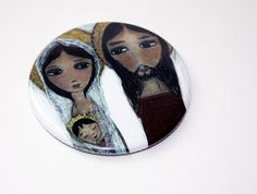 Sacred Family  Pocket Mirror Original Art by Flor by FlorLarios, $8.00
