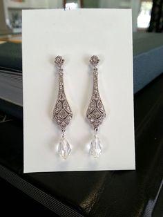 Crystal Earrings Dangle Vintage Art Deco Earrings by OWDJewelry