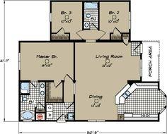 Jacobsen tnr 7521 42 x 52 2080 sq ft triple wide for Modular homes south carolina floor plans