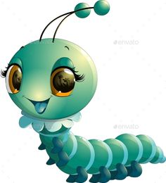Buy Caterpillar Cartoon by on GraphicRiver. beautiful blue caterpillar on a white background Cow Cartoon Images, Bug Cartoon, Cute Images, Cute Pictures, Happy Paintings, Chenille, Fabric Painting, Caterpillar, Clipart